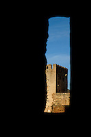 Torre de la Vela watchtower at Alhambra, a 14th-century palace in Granada, Andalusia, Spain.