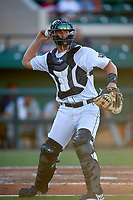 Lakeland Flying Tigers catcher Austin Athmann (19) throws to first base during a game against the Fort Myers Miracle on August 7, 2018 at Publix Field at Joker Marchant Stadium in Lakeland, Florida.  Fort Myers defeated Lakeland 5-0.  (Mike Janes/Four Seam Images)