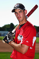 Tri-City ValleyCats outfielder Justin Gominsky #16 poses for a photo before a game against the Batavia Muckdogs at Dwyer Stadium on July 15, 2011 in Batavia, New York.  Batavia defeated Tri-City 4-3.  (Mike Janes/Four Seam Images)