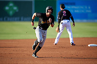 West Virginia Black Bears Nick Patten (16) running the bases during a NY-Penn League game against the Batavia Muckdogs on June 27, 2019 at Dwyer Stadium in Batavia, New York.  West Virginia defeated Batavia 6-5 in ten innings.  (Mike Janes/Four Seam Images)