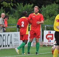 Sporting Menen - KV Oostende : vreugde bij Laurent Depoitre (rechts) en Xavier Luisint (links) na een doelpunt<br /> foto VDB / Bart Vandenbroucke