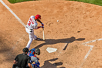 30 April 2017: Washington Nationals outfielder Michael Taylor hits into an RBI fielder's choice in the 7th inning against the New York Mets at Nationals Park in Washington, DC. The Nationals defeated the Mets 23-5, with the Nationals setting several individual and team records, in the third game of their weekend series. Mandatory Credit: Ed Wolfstein Photo *** RAW (NEF) Image File Available ***