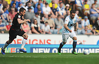 Blackburn Rovers' Adam Armstrong under pressure from Bolton Wanderers' Andrew Taylor<br /> <br /> Photographer Kevin Barnes/CameraSport<br /> <br /> The EFL Sky Bet Championship - Blackburn Rovers v Bolton Wanderers - Monday 22nd April 2019 - Ewood Park - Blackburn<br /> <br /> World Copyright © 2019 CameraSport. All rights reserved. 43 Linden Ave. Countesthorpe. Leicester. England. LE8 5PG - Tel: +44 (0) 116 277 4147 - admin@camerasport.com - www.camerasport.com