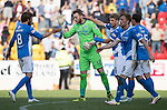 St Johnstone v Hearts…17.09.16.. McDiarmid Park  SPFL<br />Man of the Match Zander Clark celebrates at full time with his team mates<br />Picture by Graeme Hart.<br />Copyright Perthshire Picture Agency<br />Tel: 01738 623350  Mobile: 07990 594431