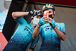 Ion Izagirre Insausti and Luis Leon Sanchez (ESP) Astana-Premier Tech at sign on before the start of Stage 15 of La Vuelta d'Espana 2021, running 197.5km from Navalmoral de la Mata to El Barraco, Spain. 29th August 2021.     <br /> Picture: Charly Lopez/Unipublic | Cyclefile<br /> <br /> All photos usage must carry mandatory copyright credit (© Cyclefile | Unipublic/Charly Lopez)