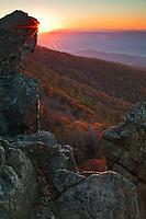 Sunset framed with Little Stony Man Cliffs, Shenandoah National Park