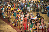 Women from many different ethnic groups forma line to demonstrate their concepts of female beauty at the International Indigenous Games, in the city of Palmas, Tocantins State, Brazil. Photo © Sue Cunningham, pictures@scphotographic.com 24th October 2015