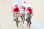 The team of Poland with Maciej Bielecki, Krzysztof Maksel and Mateusz Rudyk compete in Men's Team Sprint - Qualifying match as part of the 2017 UCI Track Cycling World Championships on 12 April 2017, in Hong Kong Velodrome, Hong Kong, China. Photo by Victor Fraile / Power Sport Images