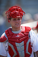 Auburn Doubledays catcher Nic Perkins (43) before the second game of a doubleheader against the Mahoning Valley Scrappers on July 2, 2017 at Falcon Park in Auburn, New York.  Mahoning Valley defeated Auburn 3-2.  (Mike Janes/Four Seam Images)
