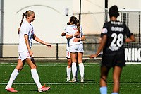 MONTCLAIR, NJ - OCTOBER 3: Paige Nielsen #14 of the Washington Spirit and Sam Staab #3 of the Washington Spirit hug post-game during a game between Washington Spirit and Sky Blue FC at MSU Soccer Park at Pittser Field on October 3, 2020 in Montclair, New Jersey.