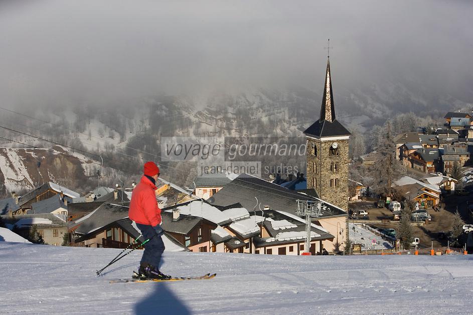 Europe/France/Rhone-Alpes/73/Savoie/Saint-Martin-de-Belleville: la station village et ses pistes