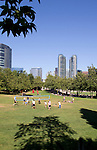 Bellevue, Downtown Park, skyline, saturday park goers, Washington State, Pacific Northwest, summer