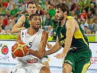 "France`s Nicolas Batum (L) and Jonas Klieza of Lithuania (R) in action during European basketball championship ""Eurobasket 2013""  final game between France and Lithuania in Stozice Arena in Ljubljana, Slovenia, on September 22. 2013. (credit: Pedja Milosavljevic  / thepedja@gmail.com / +381641260959)"