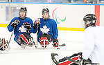 Sochi, RUSSIA - Mar 1 2014 -  Tyler McGregor and Anthony Gale during the team's first practice before the 2014 Paralympics in Sochi, Russia.  (Photo: Matthew Murnaghan/Canadian Paralympic Committee)