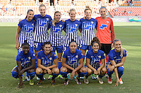Houston, TX - Sunday Sept. 11, 2016: Boston Breakers Starting XI prior to a regular season National Women's Soccer League (NWSL) match between the Houston Dash and the Boston Breakers at BBVA Compass Stadium.