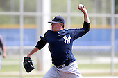 New York Yankees minor league player pitcher Trent Lare #55 delivers a pitch during a game vs the Toronto Blue Jays at the Englebert Minor League Complex in Dunedin, Florida;  March 21, 2011.  Photo By Mike Janes/Four Seam Images
