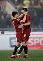 Calcio, Serie A: AS Roma - Benevento, Roma, stadio Olimpico, 11 gennaio 2018.<br /> Roma's Cengiz Under (l) celebrates with his teammate Kevin Strootman (r) after scoring his second goal in the match during the Italian Serie A football match between AS Roma and Benevento at Rome's Olympic stadium, February 11, 2018.<br /> UPDATE IMAGES PRESS/Isabella Bonotto