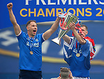 15.05.2021 Rangers v Aberdeen: Nikola Katic and Borna Barisic with the SPFL Premiership league trophy