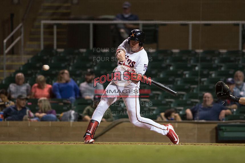 Salt River Rafters right fielder Luke Raley (53), of the Minnesota Twins organization, swings at a pitch during an Arizona Fall League game against the Scottsdale Scorpions at Salt River Fields at Talking Stick on October 11, 2018 in Scottsdale, Arizona. Salt River defeated Scottsdale 7-6. (Zachary Lucy/Four Seam Images)