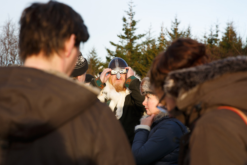 Gunnar Víking Ólafsson, member of the neo-pagan Asatru association watching the solar eclipse  in Reykjavik, Iceland.