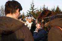 Gunnar Víking Ólafsson, member of the neo-pagan Asatru association watching the solar eclipse  in Reykjavik, Iceland.