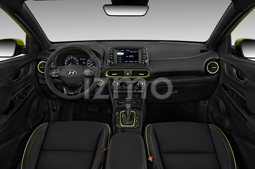 Stock photo of straight dashboard view of 2018 Hyundai Kona Limited 5 Door SUV Dashboard