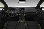 Stock photo of straight dashboard view of 2018 Hyundai Kona Limited 5 Door SUV Dashboard