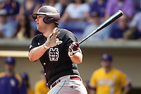 Mississippi State Bulldog first baseman Wes Rea #35 connects on a first inning RBI double during the NCAA baseball game against the LSU Tigers on March 18, 2012 at Alex Box Stadium in Baton Rouge, Louisiana. LSU defeated Mississippi State 4-2. (Andrew Woolley / Four Seam Images).