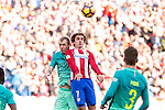 Jeremy Mathieu of Futbol Club Barcelona competes for the ball with Antoine Griezmann of Atletico de Madrid  during the match of Spanish La Liga between Atletico de Madrid and Futbol Club Barcelona at Vicente Calderon Stadium in Madrid, Spain. February 26, 2017. (ALTERPHOTOS)