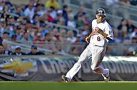 29 September 2012: Minnesota Twins infielder Jamey Carroll on the base path during game action against the Detroit Tigers at Target Field in Minneapolis, MN. The Tigers defeated the Twins 6-4 in the second game of their 3-game series. Mandatory Credit: Ed Wolfstein Photo