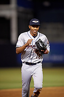 Lakeland Flying Tigers center fielder Jose Azocar (10) jogs back to the dugout during a game against the Tampa Yankees on April 7, 2017 at George M. Steinbrenner Field in Tampa, Florida.  Lakeland defeated Tampa 5-0.  (Mike Janes/Four Seam Images)