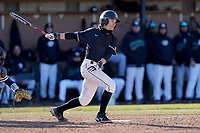 Jack Hennessy (1) of the University of South Carolina Upstate Spartans bats in a game against the University of Toledo Rockets on Saturday, February 20, 2021, at Cleveland S. Harley Park in Spartanburg, South Carolina. Upstate won, 5-1. (Tom Priddy/Four Seam Images)