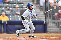 Hartford Yard Goats catcher Jackson Williams (20) runs to first during a game against the Richmond Flying Squirrels at The Diamond on April 30, 2016 in Richmond, Virginia. The Yard Goats defeated the Flying Squirrels 5-1. (Tony Farlow/Four Seam Images)