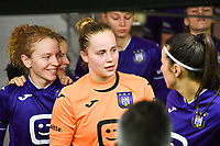 goalkeeper Lowiese Seynhaeve (1) of Anderlecht pictured during a female soccer game between RSC Anderlecht Dames and Sporting Charleroi on the 13 th matchday of the 2020 - 2021 season of Belgian Womens Super League , friday 5 th of February 2021  in Tubize , Belgium . PHOTO SPORTPIX.BE | SPP | DAVID CATRY