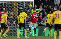 A Goalkeeper David De Gea of Man Utd error gives Watford a 1-0 lead during the Premier League match between Watford and Manchester United at Vicarage Road, Watford, England on 22 December 2019. Photo by Andy Rowland.