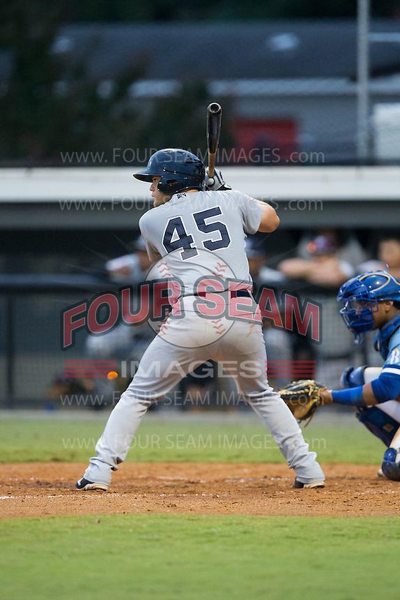 Jesus Aparicio (45) of the Pulaski Yankees at bat against the Burlington Royals at Burlington Athletic Park on August 6, 2015 in Burlington, North Carolina.  The Royals defeated the Yankees 1-0. (Brian Westerholt/Four Seam Images)