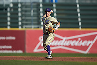 Western Carolina Catamounts shortstop Daniel Walsh (19) makes a throw to first base against the Saint Joseph's Hawks at TicketReturn.com Field at Pelicans Ballpark on February 23, 2020 in Myrtle Beach, South Carolina. The Hawks defeated the Catamounts 9-2. (Brian Westerholt/Four Seam Images)