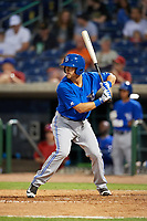 Dunedin Blue Jays designated hitter Nash Knight (35) at bat during a game against the Clearwater Threshers on April 6, 2018 at Spectrum Field in Clearwater, Florida.  Clearwater defeated Dunedin 8-0.  (Mike Janes/Four Seam Images)