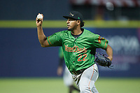Down East Wood Ducks relief pitcher Abdiel Mendoza (22) on defense against the Kannapolis Cannon Ballers at Atrium Health Ballpark on May 5, 2021 in Kannapolis, North Carolina. (Brian Westerholt/Four Seam Images)