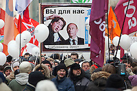 Moscow, Russia, 24/12/2011..A placard mocking Kremlin-controlled Russian state television as an estimated crowd of up to 100,000 gather for a protest against election fraud and Prime Minister Vladimir Putin in the largest anti-government demonstration in Russia since the collapse of the Soviet Union.