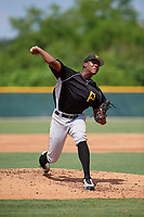 Pittsburgh Pirates pitcher Wilmer Contreras (29) delivers a pitch during an Instructional League intrasquad black and gold game on September 28, 2017 at Pirate City in Bradenton, Florida.  (Mike Janes/Four Seam Images)