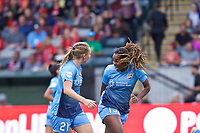 Portland, OR - Saturday June 17, 2017: Leah Galton, Kayla Mills during a regular season National Women's Soccer League (NWSL) match between the Portland Thorns FC and Sky Blue FC at Providence Park.