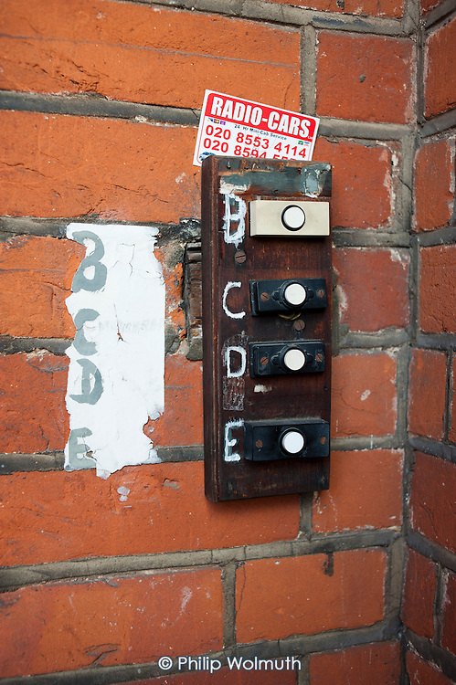 Doorbells on a house in multiple occupation, Ilford.