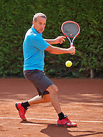 Netherlands, Amstelveen, August 22, 2015, Tennis,  National Veteran Championships, NVK, TV de Kegel,  Men's  60+, Jef Stevens<br /> Photo: Tennisimages/Henk Koster