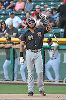 Jon Singleton (21) of the Fresno Grizzlies at bat against the Salt Lake Bees in Pacific Coast League action at Smith's Ballpark on June 13, 2015 in Salt Lake City, Utah.  (Stephen Smith/Four Seam Images)