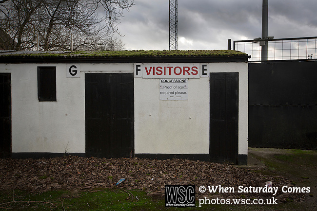 Stafford Rangers 2 Chasetown 1, 26/12/2015. Marston Road, Northern Premier League. An unused entrance for visiting fans at Marston Road, home of Stafford Rangers before they played local rivals Chasetown in a Northern Premier League first division south fixture. The club has played at Marston Road since 1896 and achieved prominence in the 1970s and 1980s as one of England's top non-League teams. League leaders Stafford won this match 2-1, despite having a man sent off, watched by a season's best attendance of 978. Photo by Colin McPherson.