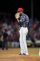 Jacksonville Jumbo Shrimp relief pitcher Esmerling De La Rosa (31) on the mound during a game against the Mobile BayBears on April 14, 2018 at Baseball Grounds of Jacksonville in Jacksonville, Florida.  Mobile defeated Jacksonville 13-3.  (Mike Janes/Four Seam Images)