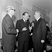 Andre Malraux ministre culturel de France en visite a Quebec - - Invites, le  Maire Wilfrid Hamel<br /> , le 11 octobre 1963<br /> <br /> Photographe : Photo Moderne<br /> - Agence Quebec Presse