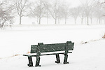 A snowy day on the Charles River Esplanade, Boston, Massachusetts, USA