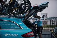 Cyril Gautier (FRA/AG2R- La Mondiale) prepping at the race start in torrential rained down Nice<br /> <br /> 76th Paris-Nice 2018<br /> Stage 8: Nice > Nice (110km)